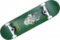 Woodoo Skateboard Komplettboard Green Skull 8.0