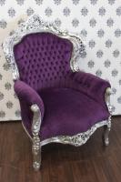 Barock Sessel King Lila/Silber - Möbel Antik Stil