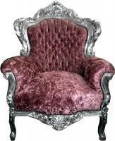Barock Sessel  King  Altrose/Silber