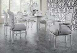 Casa Padrino Barock Esszimmer Set Weiß/Weiß - Esstisch + 6 Stühle