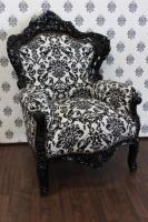 Barock Sessel King Schwarz/Weiß Barockstil Muster - Möbel Antik Stil