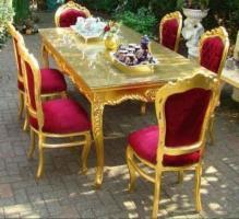 Casa Padrino Barock Esszimmerset Bordeaux/Gold - Esstisch + 6 Stühle