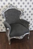 Casa Padrino Barock Sessel King Grau/Silber - Möbel Antik Stil