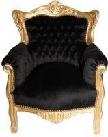 Barock Kinder Sessel Schwarz/Gold