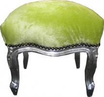 Casa Padrino Barock Fußhocker Jadegrün / Silber - Möbel - Hocker Grün Silber
