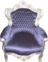 Barock Sessel  King  Royalblau/Silber