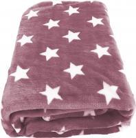 Wohndecke / Flanell Decke rosa XXL 180x220cm Sternenmotiv