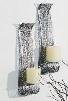 2er Set Wandkerzenhalter für Stumpenkerzen in Silber