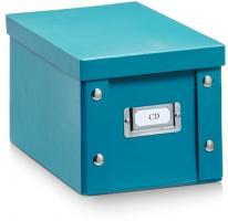 ZELLER CD BOX mit DECKEL petrol für 20 CD's AUFBEWAHRUNG KISTE KARTON CASE