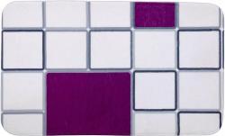 WENKO Badematte  Abstract  45x75 cm, weiß / lila, Badteppich, Duschvorleger