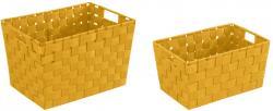 2er WENKO Korb Set ADRIA Gr. S + M, orange, Bad Kosmetik Utensilien Aufbewahrung