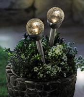 2x LED Solarleuchte  Kristall  aus Glas, Gartenlampe Wegbeleuchtung Beetstecker