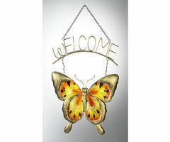 Hänger Schmetterling  Welcome  Tür Wand Fenster Deko Schild Willkommen Butterfly