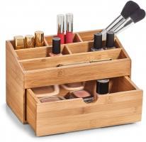 Zeller Bambus Holz Kosmetik Organizer mit Schublade, Make Up Aufbewahrung Kasten