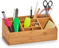 Zeller Bambus Holz Schreibtisch Organizer Stift Halter Aufbewahrung Kasten Box