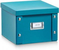 2x Zeller Aufbewahrungs Box aus Pappe, petrol, für 26 DVD, Kiste Karton Case