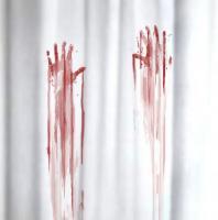 Duschvorhang Blutbad weiß rot 180x180cm