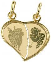Partneranhänger zweigeteiltes Herz gold 585 Anhänger Doppelherz Engel 14 Kt
