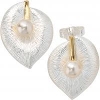 Ohrring Perlenohrring Ohrstecker BLATT, 925/- Sterlingsilber, teilvergoldet, teilmattiert, 2 Süßwasser-Zuchtperlen, Handarbeit