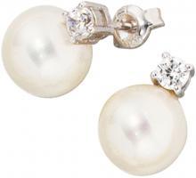 Ohrringe Perlenohrringe Ohrstecker, 925/- Sterlingsilber, rhodiniert, 2 Perlen, 2 Zirkonia