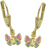 Ohrringe Schmetterling Ohrhänger gold Kinderschmuck Schmetterling, 9 Kt GOLD 375