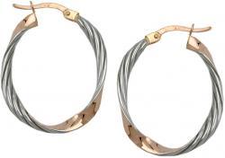 goldene klassische Ohrringe Creolen gold Creole bicolor geschwungen 9 K Rotgold