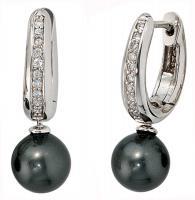 Ohrring Ohrhänger Creolen, 925/- Sterlingsilber, rhodiniert, 2 dunkle Perlen 20 Zirkonia, Klappmechanik