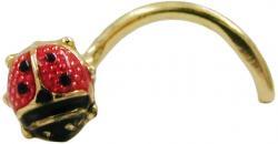 Nasenstecker Piercing Nasenpiercing gold Marienkäfer Spirale 18 Kt 750 Gold