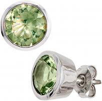 Ohrring Ohrstecker, 925/- Sterlingsilber, rhodiniert, 2 grüne Kristalle, Ohrschmuck silber