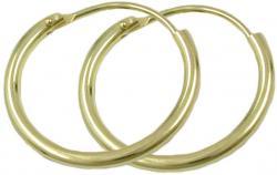 schlichte klassische Creolen gold 375 Creole, 15mm, glänzend, 9 Kt GOLD