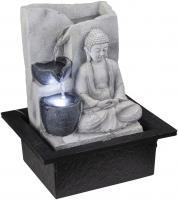 LED Tisch Spring Brunnen Buddha Design Wasser Spiel Wohn Zimmer Dekoration grau Globo 93019